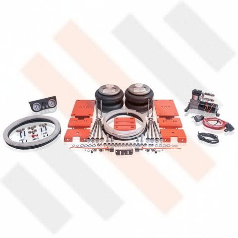 """Semi air suspension kit for a Fiat Ducato X230 (1994-2002) with 8"""" leafsprings and compressor kit Thomas 215."""