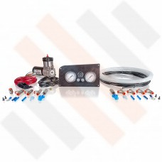 Compressor Kit Thomas 215 | Carbon-look Fiat Ducato X244 gauge dashpanel with double pressure gauge